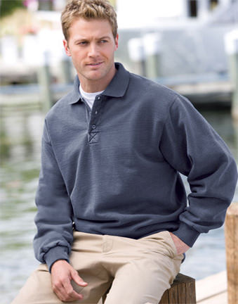 Men's 3 Button Polo Sweatshirts - 100% Cotton