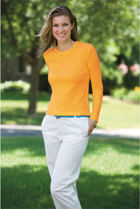Ladies Crewneck Long Sleeve Ribbed T-shirt 100% Cotton