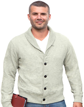 Men's Cardigan 100% Cotton Fine French Terry