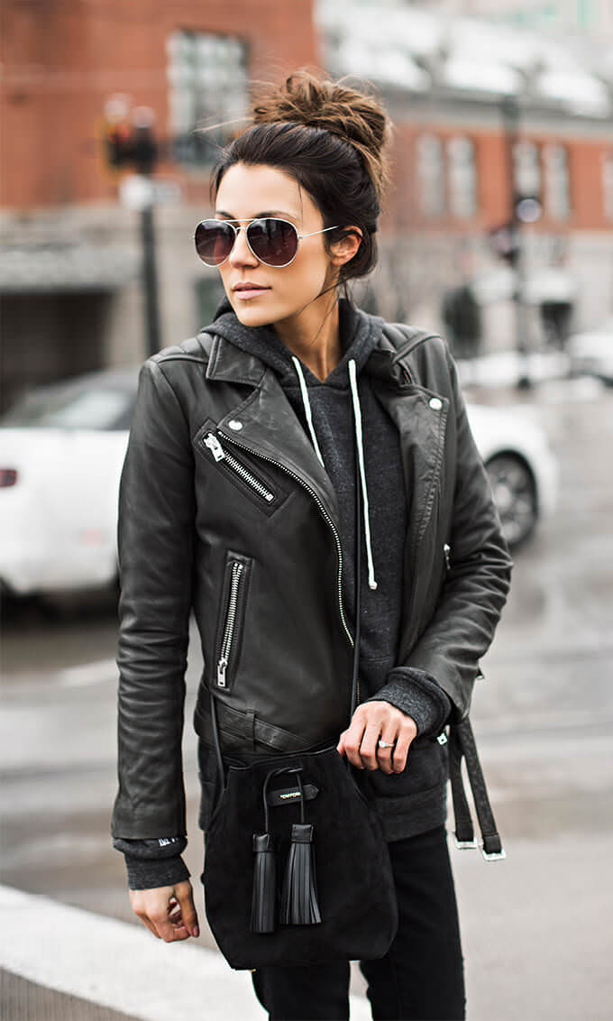 hoodies and leather jacket layering