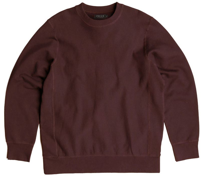 PRIVÉ Crewneck Maroon Burgundy 100% Cotton
