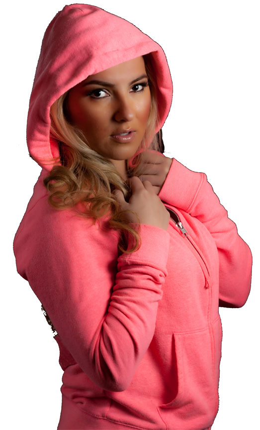 Ladies Hooded Zipper 14oz 100% Maché Cotton
