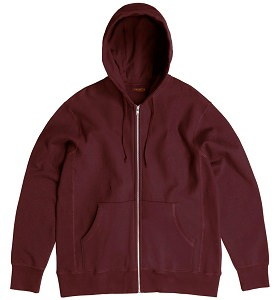 PRIVÉ Hooded Zipper Maroon Burgundy 100% Cotton