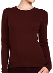 Ladies Crewneck Long Sleeve Ribbed T-Shirt Java Brown 100% Cotton