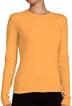 Ladies Crewneck Long Sleeve Ribbed T-Shirt Orange Sherbert 100% Cotton