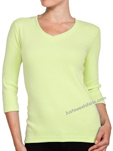 Ladies V-Neck 3/4 Sleeve Ribbed T-Shirt Citron 100% Cotton