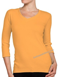 Ladies V-Neck 3/4 Sleeve Ribbed T-Shirt Orange Sherbert 100% Cotton