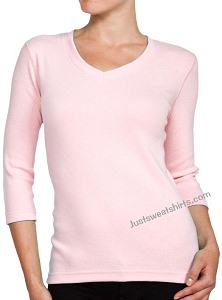 Ladies V-Neck 3/4 Sleeve Ribbed T-Shirt Pink 100% Cotton