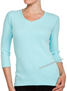 Ladies V-Neck 3/4 Sleeve Ribbed T-Shirt Sea Foam 100% Cotton