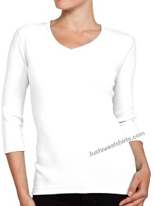 Ladies V-Neck 3/4 Sleeve Ribbed T-Shirt White 100% Cotton