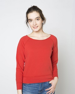 French Terry Scoop Neck Sweatshirt Warm Red