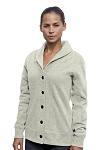 Ladies Cardigan Sweatshirt Egg Shell 100% Cotton