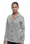 Ladies Cardigan Sweatshirt Grey Mix 100% Cotton