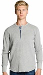 Mens Waffle Henley Collar 100% Cotton Gray Mix