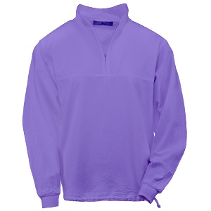 Ladies Honey-Komb Half Zip Lightweight Top Long Sleeves 100% Cotton Iris