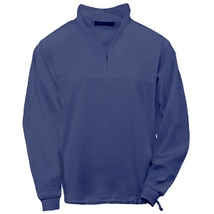 Ladies Honey-Komb Half Zip Lightweight Top Long Sleeves 100% Cotton Sapphire