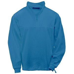 Ladies Honey-Komb Half Zip Lightweight Top Long Sleeves 100% Cotton Surf Blue