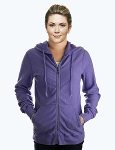 Ladies Hooded Zipper 14oz 100% Maché  Cotton Violet