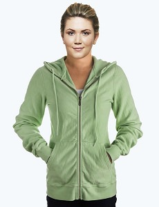 Ladies Hooded Zipper 14oz 100% Maché  CottonBright Kiwi