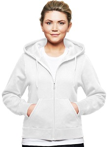 Ladies Hooded Zipper 16oz  80% Cotton 20% Polyester White