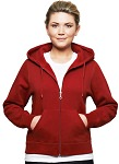 Ladies Hooded Zipper 80/20 Red