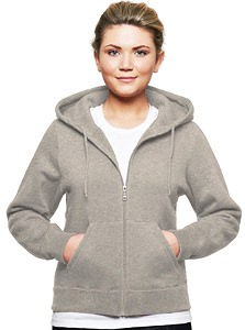Ladies Hooded Zipper 80/20 Gray Mix