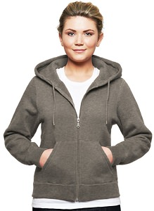 Ladies Hooded Zipper 80/20 Charcoal Mix