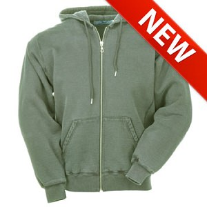 Hooded Full Front Zipper Olive Sand 100% Cotton