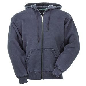 Hooded Full Front Zipper Navy Sand 100% Cotton