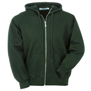 Hooded Full Front Zipper Park Green 100% Cotton