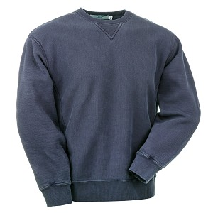 Crewneck Reverse Grain 100% Cotton Side Rib Navy Sand