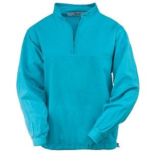 Ladies Honey-Komb Half Zip Lightweight Top Long Sleeves 100% Cotton Teal