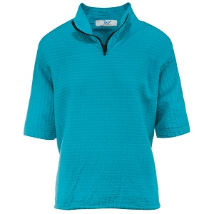 Ladies Mirage Cotton Half Zip Lightweight Top 100% Cotton Teal
