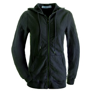 Ladies Hooded Zipper 14oz 100% Maché  Cotton Black SALE