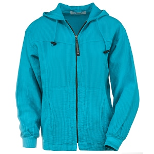 Ladies Bubble Cotton Full Zipper Hooded Jacket 100% Cotton Teal
