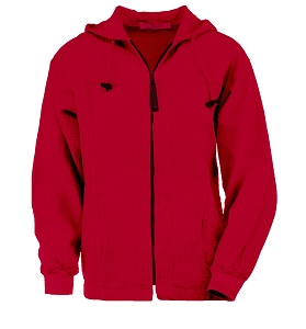 Ladies Bubble Cotton Full Zipper Hooded Jacket 100% Cotton Race Red FINAL SALE