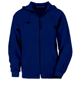 Ladies Bubble Cotton Full Zipper Hooded Jacket 100% Cotton Sapphire