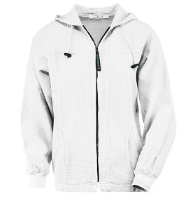 Ladies Bubble Cotton Full Zipper Hooded Jacket 100% Cotton White  FINAL SALE