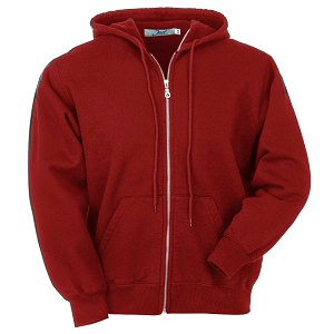 Hooded Full Front Zipper Ruby Red 100% Cotton