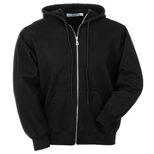 Hooded Full Front Zipper Black 100% Cotton