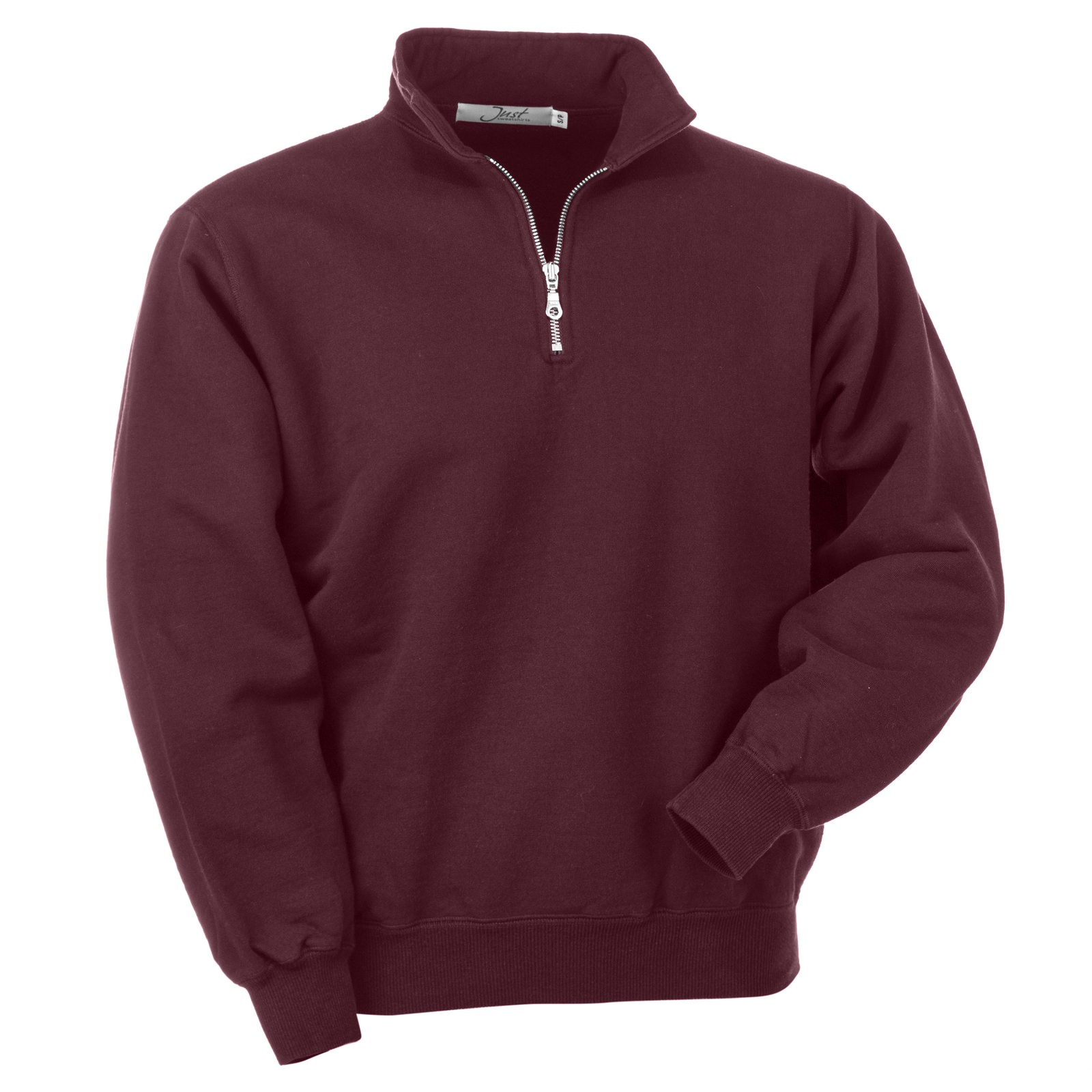 Zip Neck True Burgundy 100% Cotton