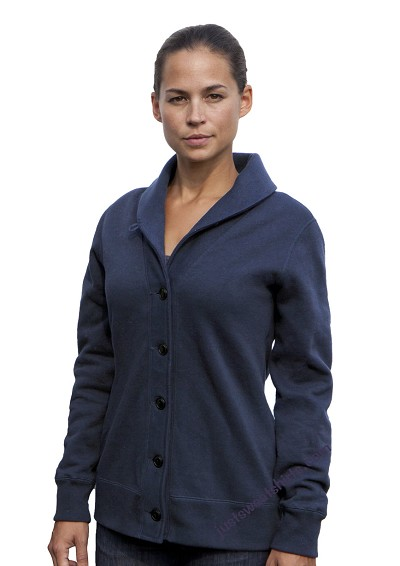 Ladies Cardigan Sweatshirt Cadet Blue 100% Cotton
