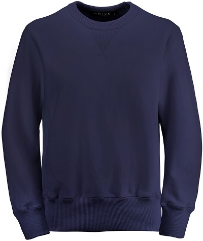 PRIVÉ Crewneck Navy with Side Rib 100% Cotton
