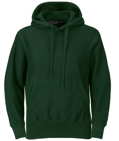 PRIVÉ Hoodie Park Green with Side Rib 100% Cotton
