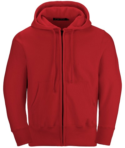 PRIVÉ Full Zip Hoodie Red with Side Rib 100% Cotton