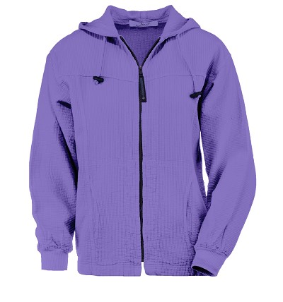 Ladies Bubble Cotton Full Zipper Hooded Jacket 100% Cotton Iris  FINAL SALE