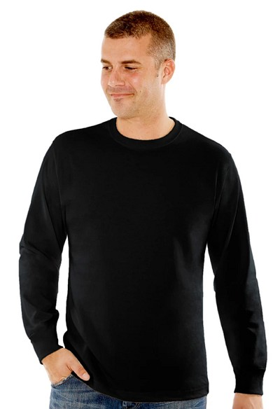 T-Shirt Men's Long Sleeve 100% Cotton Black