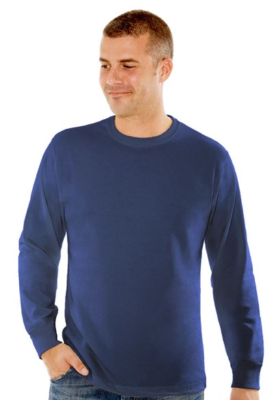 T-Shirt Men's Long Sleeve 100% Cotton Blue Jeans