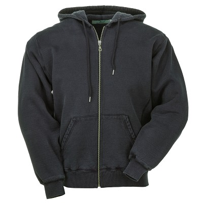 Hooded Full Front Zipper Black Sand 100% Cotton